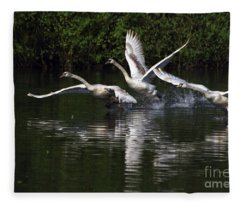 Swan Take-off Fleece Blanket
