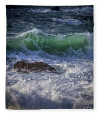 Swells In Doninos Beach Galicia Spain Fleece Blanket
