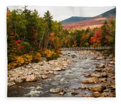 Swift River Painted With Autumns Paint Brush Fleece Blanket