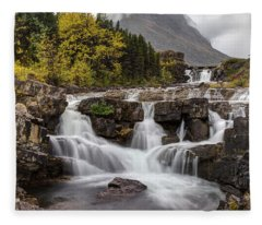 Swiftcurrent Falls In Autumn Fleece Blanket