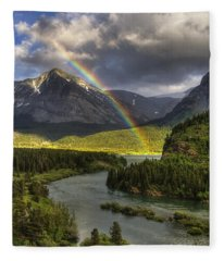 Swiftcurrent River Rainbow Fleece Blanket