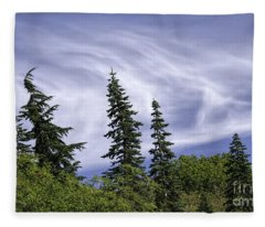 Swirling Clouds Crooked Trees Fleece Blanket