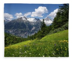 Switzerland Bietschhorn Fleece Blanket