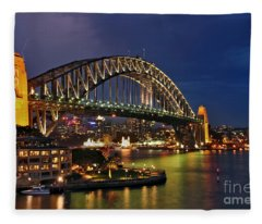 Sydney Harbour Bridge By Night Fleece Blanket