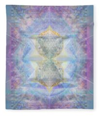 Synthecentered Doublestar Chalice In Blueaurayed Multivortexes On Tapestry Lg Fleece Blanket