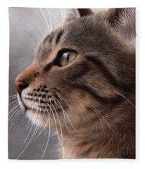 Tabby Cat Painting Fleece Blanket