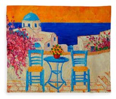 Table For Two In Santorini Greece Fleece Blanket