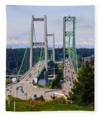 Tacoma Narrows Bridge Fleece Blanket