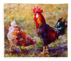 Rooster And Hen Farm Art Chicken Painting  Fleece Blanket