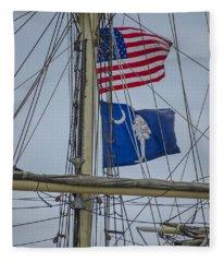 Tall Ships Flags Fleece Blanket