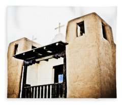 Taos Pueblo Church 3 Fleece Blanket