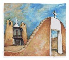 Taos Pueblo New Mexico - Watercolor Art Painting Fleece Blanket