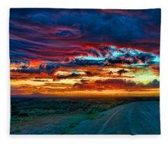 Taos Sunset Iv Fleece Blanket