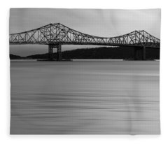 Tappan Zee Bridge Sunset Bw Fleece Blanket