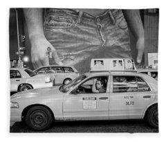 Taxis On Fifth Avenue Fleece Blanket