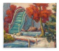 Tea Garden Bridge Fleece Blanket