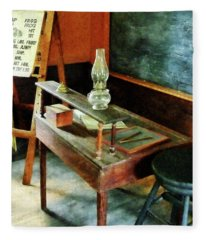 Teacher's Desk With Hurricane Lamp Fleece Blanket