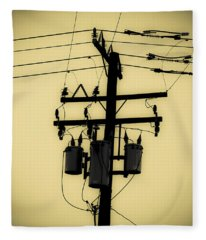 Telephone Pole 3 Fleece Blanket