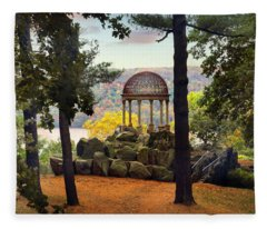 Temple Of Love In Autumn Fleece Blanket