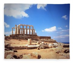 Temple Of Poseidon Vignette Fleece Blanket