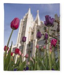 Temple Tulips Fleece Blanket