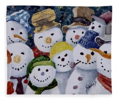 Ten Little Snowmen Fleece Blanket