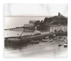 Tenby Harbour And Castle Hill Vignette Fleece Blanket