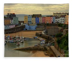 Tenby Harbour In The Morning Fleece Blanket