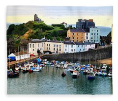Tenby Harbour Panorama Fleece Blanket