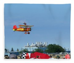 Teresa Stokes Wingwalker At Oshkosh 2012 Fleece Blanket