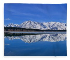 Teton End Of Winter Reflections Fleece Blanket