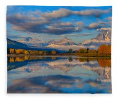 Teton Panoramic Reflections At Oxbow Bend Fleece Blanket
