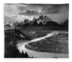 Tetons And The Snake River Fleece Blanket