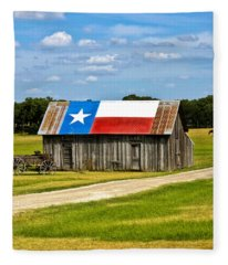 Texas Barn Flag Fleece Blanket