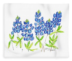 Texas Bluebonnets Watercolor Painting By Kmcelwaine Fleece Blanket
