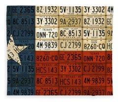 Texas Flag The Lone Star State License Plate Art Fleece Blanket