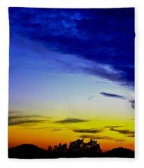 Texas Hill Country Sunset Fleece Blanket