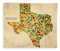 Texas Map Crystalized Counties On Worn Canvas By Design Turnpike Fleece Blanket