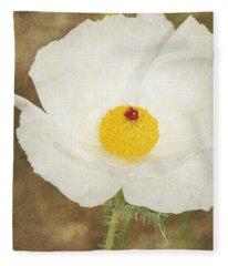 Texas Prickly Poppy Wildflower Fleece Blanket