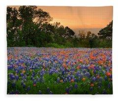 Texas Sunset - Bluebonnet Landscape Wildflowers Fleece Blanket