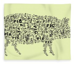 Text Pig Fleece Blanket