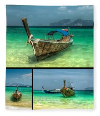 Thailand Longboats Fleece Blanket