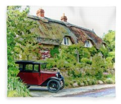Thatched Cottages At Reybridge Fleece Blanket