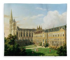 The Abbey Church Of Saint-denis And The School Of The Legion Of Honour In 1840 Oil On Canvas Fleece Blanket