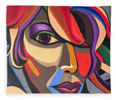 Colorful Abstract Woman Face Art, Acrylic Painting, 3d Illusion Fleece Blanket