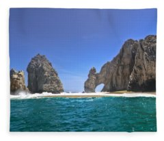The Arch  Cabo San Lucas On A Low Tide Fleece Blanket