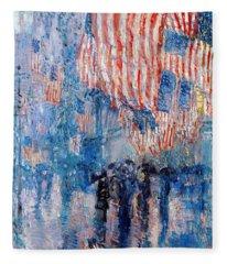 The Avenue In The Rain Fleece Blanket