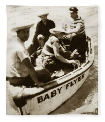 The Baby Flyer With Ed Ricketts And John Steinbeck  In Sea Of Cortez  1940 Fleece Blanket