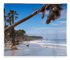 The Beach At Hunting Island State Park Fleece Blanket