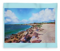 The Beach At Ponce Inlet Fleece Blanket
